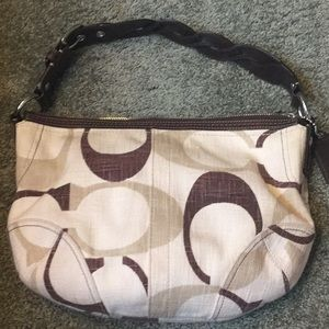 Coach brown canvas and leather purse